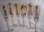 ceramique verre personnages flute ,a champagne afrcaines personnage afrique : Flûtes à champagne