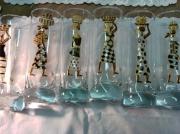 ceramique verre personnages verres ,a eau afrique africaine femme : Verres à eau