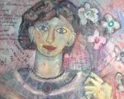 tableau femme fleur portrait rose : Rien de plus