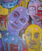 tableau personnages visages chat oiseau : Le silence bleu de ma demeure