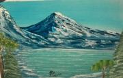 """tableau paysages paysage montagne lac hiver : """"Paysage de montagnes"""""""