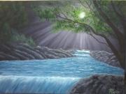 """tableau paysages paysage cascade sous bois lumiere : """"sous bois"""""""