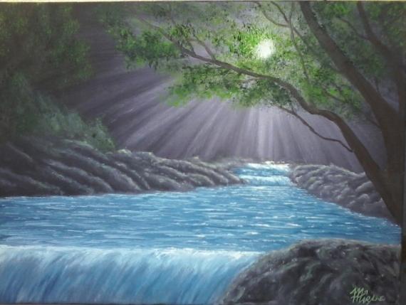 """TABLEAU PEINTURE paysage cascade sous bois lumière Paysages Peinture a l'huile  - """"sous bois"""""""