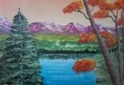 """tableau paysages lac rose arbre nature : """"le lac"""""""
