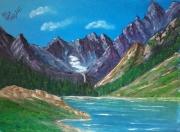 tableau paysages paysage montagne lac pyrenees : Le lac de Gaube