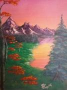 """tableau paysages paysage lac arbre rose : """"Planète rose"""""""