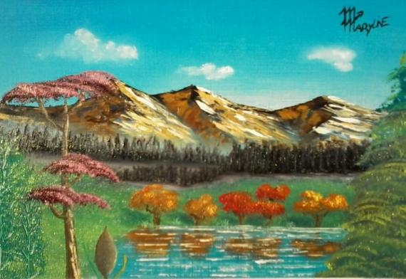 """TABLEAU PEINTURE lac montagne nature arbre Paysages Peinture a l'huile  - """"Au bord du lac"""""""