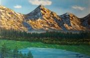 """tableau paysages paysage montagne lac paisible : """"Paysage de montagnes"""""""