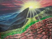 tableau paysages paysage montagne coucher de soleil lumiere : Rayon de soleil