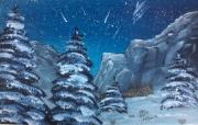 """tableau paysages paysage montagne nuit neige : """"Nuit enneigée"""""""
