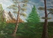 """tableau paysages arbre montagne prairie paysage : """"les arbres"""""""