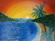 """tableau paysages paysage ile coucher de soleil nature : """"paradis préservé"""""""