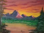 """tableau paysages paysage montagne lac nature : """"Vue d'ailleurs"""""""
