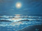 """tableau paysages paysage clair de lune oceanmer vague : """"Sous la lune"""""""