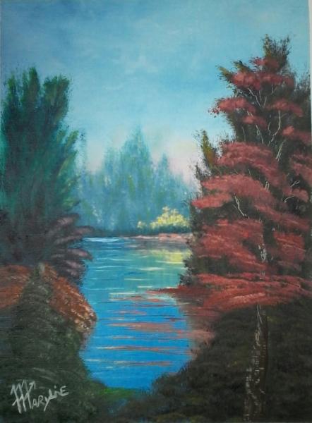 TABLEAU PEINTURE paysage arbre lac foret Paysages Peinture a l'huile  - Nature préservée