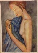 tableau personnages jeune fille bleu nue : Jeune fille au tissu bleu