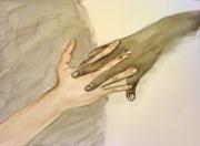 tableau autres mains aquarelle : Amitié