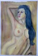 tableau nus aquarelle nue : Nue aux cheveux bleus