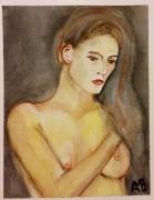 tableau nus aquarelle nue : Nue cheveux longs