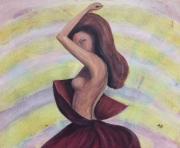tableau personnages : Presque nue à la robe rouge