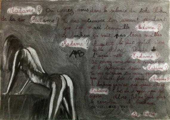 MIXTE Texte Fusain Encre Nue Nus  - Madame