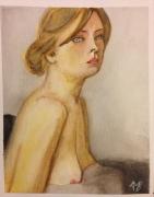tableau personnages fille nue aquarelle : Jeune fille au tissu gris