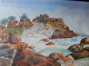 tableau marine bretagne tempete vague mer : vague à Porz Rolland