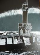 tableau marine phare port : phare