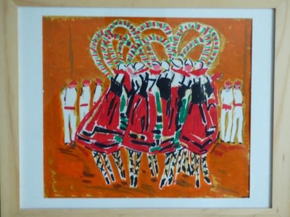 TABLEAU PEINTURE Scène de genre  - danses basques