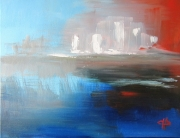 tableau paysages mer immeubles bleu : mirage urbain