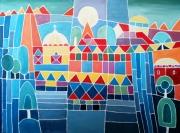 tableau architecture ville fete couleureux ornaments : La ville en fête