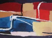 tableau abstrait bateaux expression sauvage lignes : bateaux de pêcheurs
