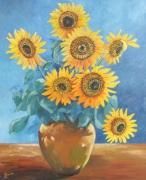 tableau fleurs tournesol jaune bleu bouquet : tournesols