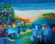 tableau animaux chevaux bleu colline montagne : chevaux bleus