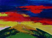 tableau paysages tour brison soleil montagne : La tour de Brison