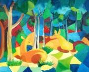 tableau animaux cerfs bois foret vert : cerfs dans le foret