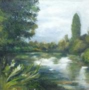 tableau paysages arbre eau campagne ciel : Midi sur l'herbe