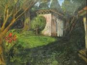 tableau paysages jardin cabane lumiere ete : La cabane