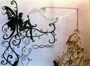 dessin scene de genre : Flûte enchantée
