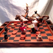 bois marqueterie personnages jeux : Au pays d'Aladin