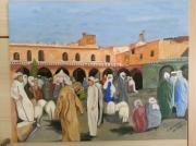 tableau maroc personnage scene de vie moutons : marché aux moutons