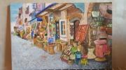 tableau scene de genre maroc scene de vie tableau decoration : rue marchande du Maroc