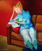 tableau scene de genre feminine cubiste tranquille personnage : Jeune femme lisant