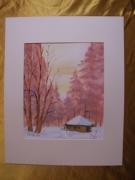 tableau paysages aquarelle original hiver paysage : Alain Polanski   N° 37