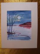 tableau paysages aquarelle original watercolor paysage : Alain Polanski   N° 28