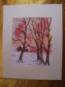 tableau paysages aquarelle original hiver paysage : Alain Polanski   N° 23