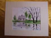 tableau paysages aquarelle original paysage printemps : Alain Polanski   N° 26