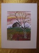 tableau paysages aquarelle original paysage automne : Alain Polanski   N° 27