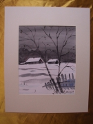 tableau paysages aquarelle paysage hiver original : Alain Polanski   N° 34