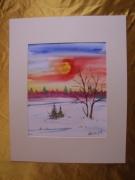 tableau paysages aquarelle watercolor original paysage : Alain Polanski   N° 36